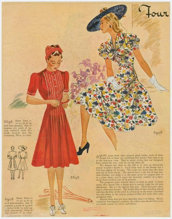 [Red shirtwaist dress ; floral print dress]  (1940)